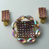 Pretty Vintage Married Pink Ab Brooch And Clip On Earrings