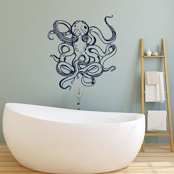 Octopus Vinyl Wall Decal Sticker- Octopus Bathroom Wall Decor- Nautical Bedroom Sea Animals Ocean Wall Decal Removable Marine Decor #141
