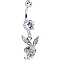 Licensed Clear Gem and Black Gem Eye Playboy Bunny Dangle Belly Ring | Body Candy Body Jewelry