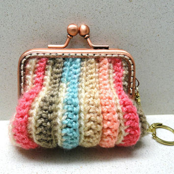 Supplies, accessories earth colors crocheted small coins purse handmade by Artefyk tagt team