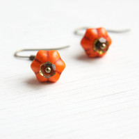 Cute Little Pumpkin Earrings, Halloween Fashion, Orange Turquoise Howlite, Olive Green Pridot Gems,  Antique Bronze Dangle Earrings, TAGT