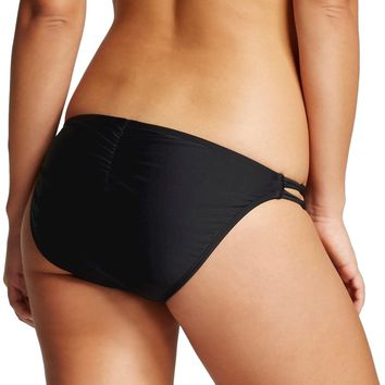 Xhilaration Women's Knotted Strappy Cheeky Bikini Swim Bottom (Black, Medium)
