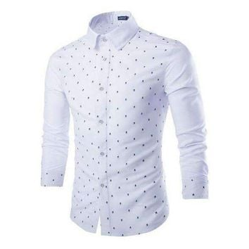 Slim Mens Stitching Long Sleeve Shirt Skeleton Print Shirt