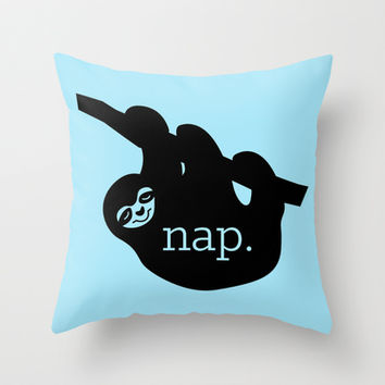Sloth Nap Throw Pillow by LookHUMAN