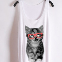 nerdy cat--red glasses--the tank | hudiefly