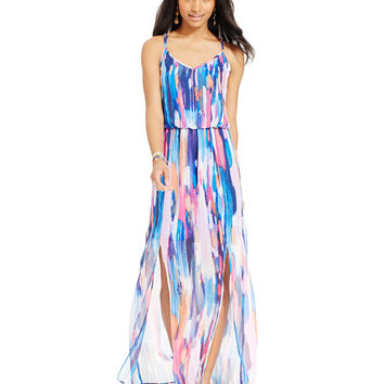 B Darlin Juniors&39 Printed Chiffon Maxi from Macys
