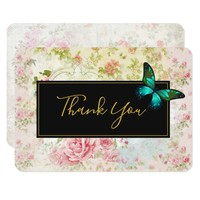 Green Butterfly on Chic Vintage Collage Thank You Card