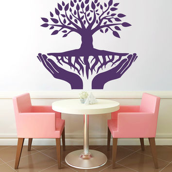 Tree With Roots In Hands Vinyl Decals Wall Sticker Art Design Living Room Modern Bedroom Nice Picture Home Decor Hall  Interior ki772