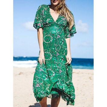 Noble Green V-Neck Printed Ruffled Hem 3/4 Bell Sleeve Maxi Dress For Women