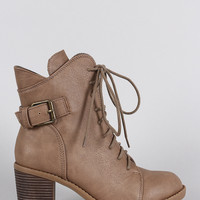 Wild Diva Lounge Curved Topline Side Buckle Combat Ankle Boots