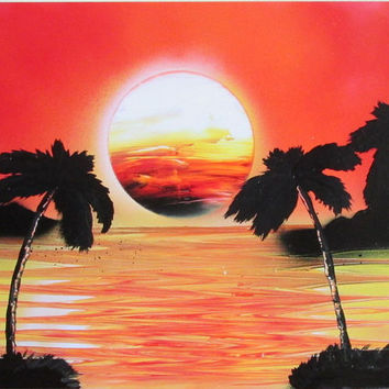 orange sunset wall art,sunset spray paint art,ocean poster,palm tree art,beach home decor,gift for grandmother,gift for mom,sunset painting