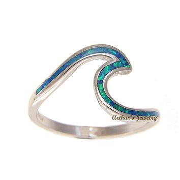 925 Sterling Silver Hawaiian Ocean Wave Shape Blue Opal Ring Size 5-10