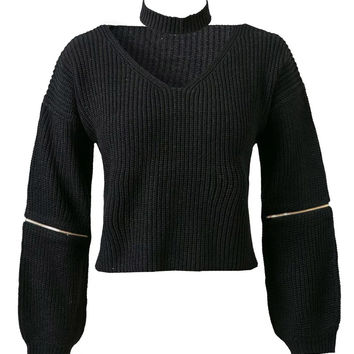 Black V-neck Zipper Detail Choker Knit Jumper