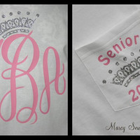 Senior QUEEN 2015 LONG Sleeve Monogram Tee Shirt