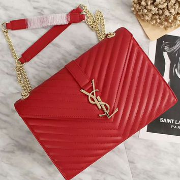 YSL Yves Saint laurent Women Leather Metal Chain Crossbody Satchel Shoulder Bag Red G-LLBPFSH