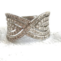 Sterling Pave Ring Vintage Pave CZ Stones Size 10
