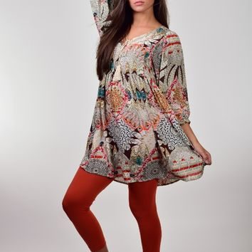 Umgee Brown Mix Feather Print Tunic Dress