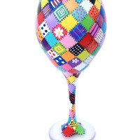 Quilting Patchwork hand painted wine glass