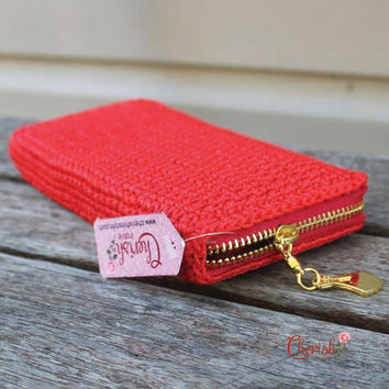 Classic Style Crochet Clutch/Crochet Wallet/Crochet Purse/Scarlet Red