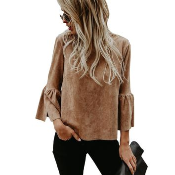 Scoop Pure Color 3/4 Ruffle Sleeves Khaki Blouse