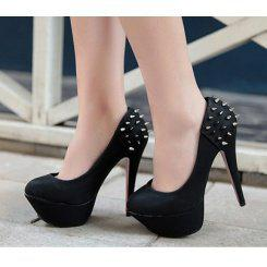Wholesale Superior waterproof increased back cut rivet fashionable high heel pumps Z0251 black - Lovely Fashion