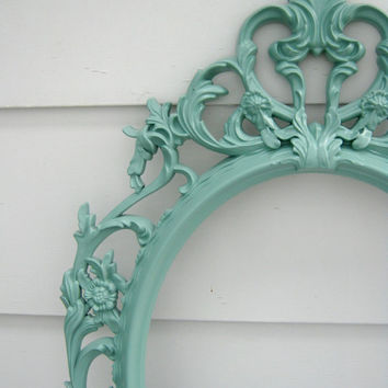 Shabby Chic Baroque Oval Open Frame - Aqua - Ornate Frame - Home Decor - Wedding - Romantic - Nursery - Baroque Frame