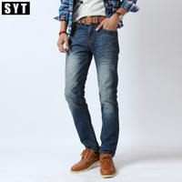 Men's SYT Denim Leisure Standard Straight Cylinder Washing Zipper Jeans