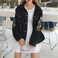 Women Casual Fashion Flower Embroidery Letter Print Long Sleeve Cardigan Short Denim Jacket Coat