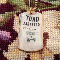 Disney's Mr. Toad Wind in the Willows Gold Dog Tag Necklace