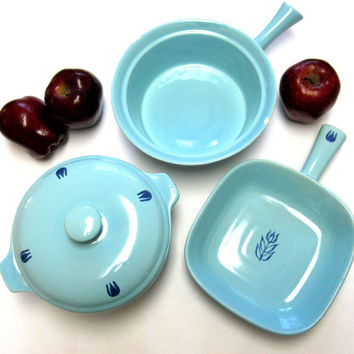 Mid Century Modern Blue Tulip Cronin / Oven Proof Cookware set  Robins Egg Blue