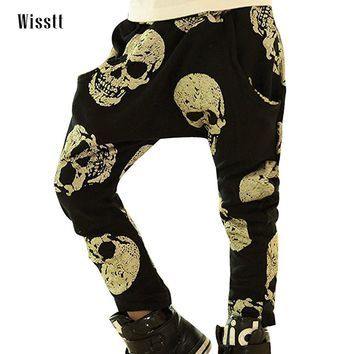 boys Golden Skull Printed Trousers Autumn and winter Casual Harem Pants Fashion Child Baby Clothes Harem pants