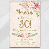 30th Birthday Invitation, Peach Gold Invitation, Any age 13th 18th 21st 40th 50th, Custom Birthday Party invitation XA302p