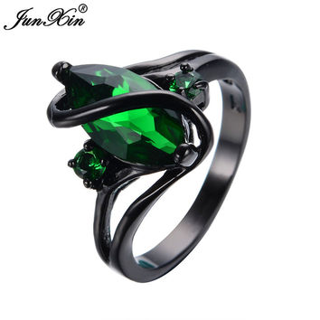 Elegant  Black Gold Filled Green CZ Ring Vintage Rings (ship in 3-4 weeks)