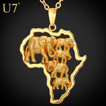 Africa Elephant Men  For Women African Map Pendant Necklace