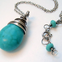 Turquoise Necklace Oxidized Sterling Silver by NaturallySterling