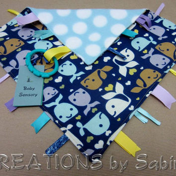 Baby Crinkle Tag Blanket / Ribbon Sensory Toy / Blankie Lovie / blue / whale fish aquatic ocean beach polka dots / boy / READY TO SHIP (185)