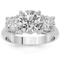 18K White Gold Three Stone Diamond Engagement Ring 4.52 Ctw