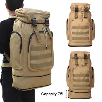 Large Capacity 75L Outdoor Camping Men's Military Tactical Backpack cycling hiking sports climbing bag 3P Waterproof Wear-resis