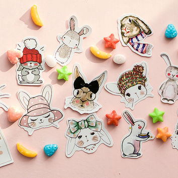 45pcs, rabbit Stickers, Animal Stickers, sticker flakes, Planner Sticker, kawaii stationary, Scrapbook, journal, cute sticker, Sticker set