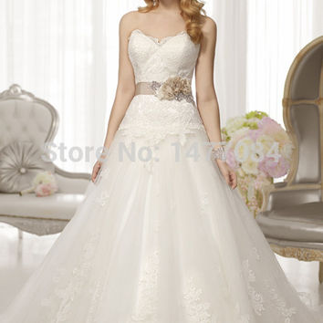 New Ball Gown Chiffon with Beading Appiques Sleeveless Off the Shoulder Sweetheart Wedding Dress