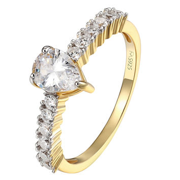Sterling Silver Pear Cut CZ Solitaire Engagement Ring 14k Gold Over 925 Silver