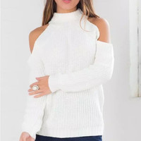White Cutout-Shoulder Knitted Sweater