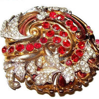 "Red Rhinestone Swirl Brooch Gold Metal Flower Cluster Holiday 2 1/4"" Vintage"