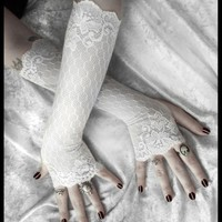Lace Fingerless Gloves - Snow White Floral  Hive Pattern - Wedding | ZenAndCoffee - Accessories on ArtFire