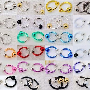 ESBONFI 2 Pieces 10x13mm Colorful Fake Nose Ring With Ball Goth Punk Lip Ear Nose Clip On Fake Piercing Nose Lip Hoop Rings Earrings