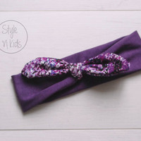 Aubergine Top Knot Headband with Purple Snake Print Bow Headband Knot Toddler Headband Head Wrap Baby Bow Headband Newborn Knot Headband