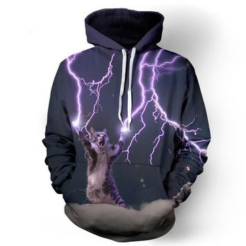 Lightning Cat Meow Hoodies - Men's Novelty Pullover Hooded Sweatshirts