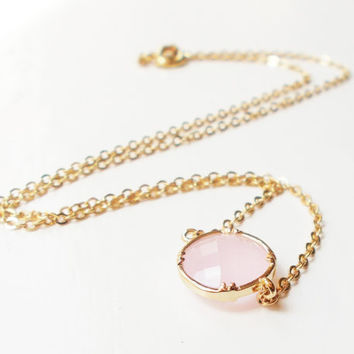 Pink Ice 16K Gold Plated Stacking Necklace - BridesMaid Gift - Gemstone Necklace - Pink Stone Necklace