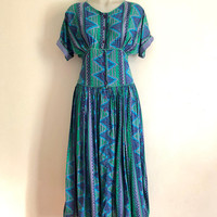 Beautiful 1980s 'Adini' blue and green abstract print, cotton sundress with short sleeves and button front