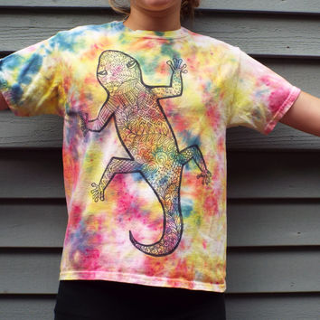 Kids Lizard Shirt, Youth M Gecko Shirt,Tie Dye Tee with Zentangle Lizard Design, Reptile Birthday, Reptile Lover, Kids Tie Dye Tshirt
